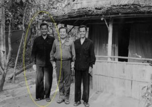 Prince Norodom Sihanouk (C), President of Royal Government of National Union of Cambodia (GRUNC) poses 21 April 1973 with Hou Youn (L) and Son Sen (R) top Khmer Rouge leaders, in the Angkor forest maquis. Sihanouk, deposed in March 1970 by Lt.Gen. Lon Nol, formed an alliance with North Vietnam and with an underground Marxist insurgency group, the Khmers Rouges, led by Pol Pot, Khieu Samphan and Ieng Sary. CHINA OUT (Photo credit should read STR/AFP/Getty Images)